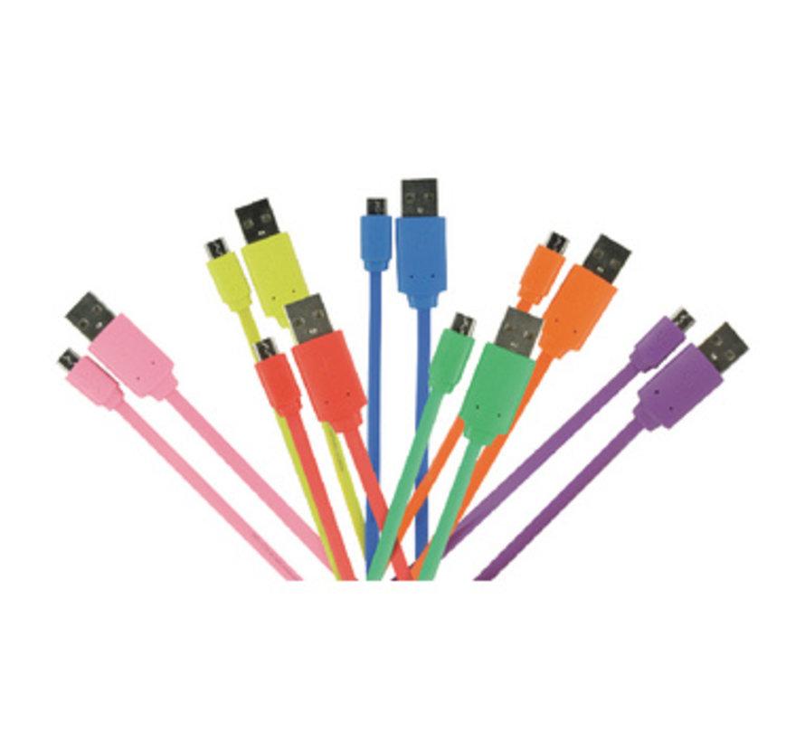 USB 2.0 Kabel USB A Male - Micro-B Male Plat 1.00 m Paars