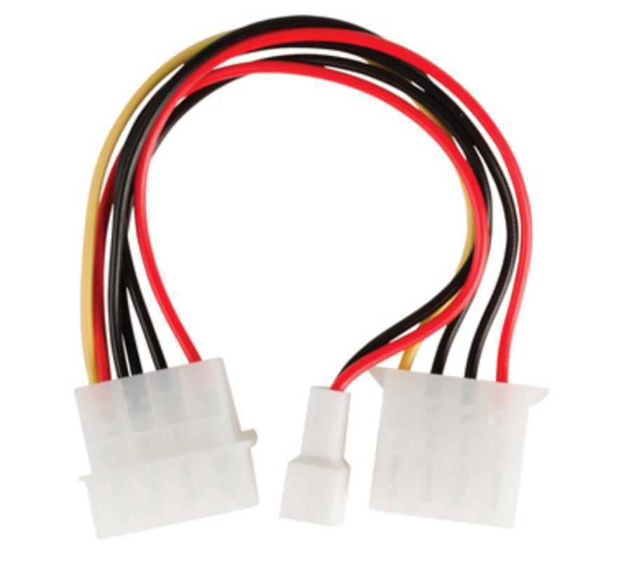Interne Stroomkabel Molex Male - Molex Female + 3-Pins Fan Power 0.15 m