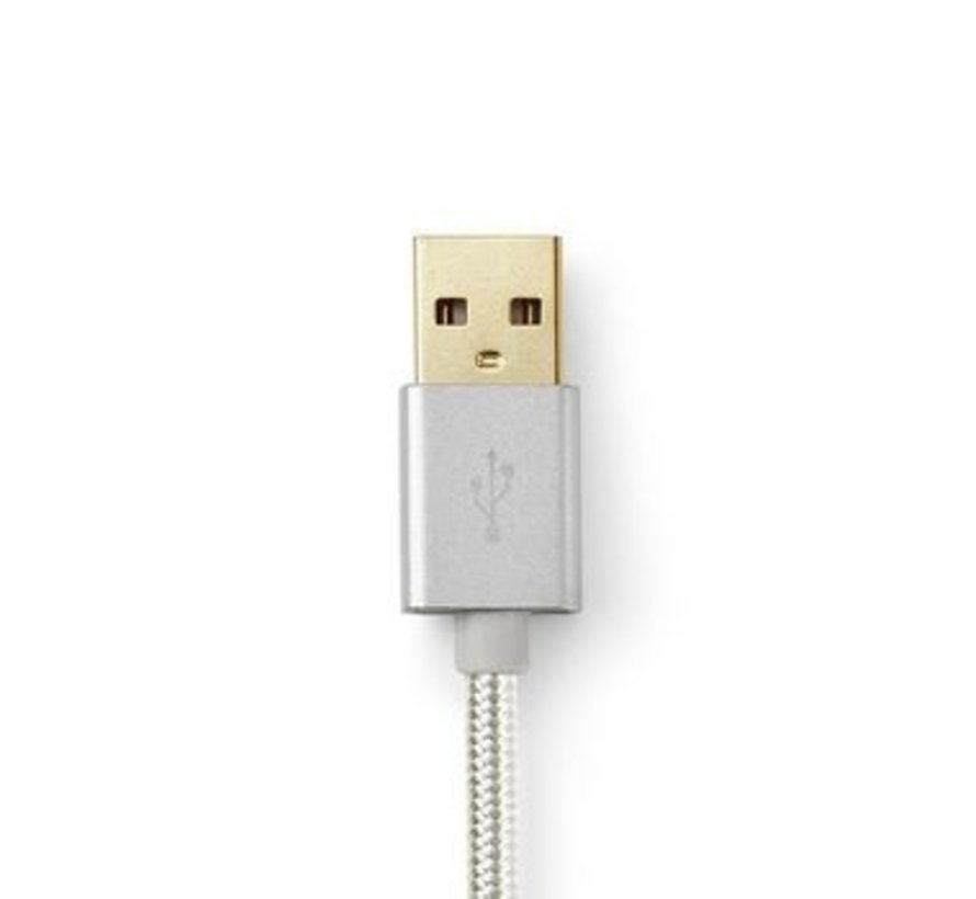 USB-Kabel | USB 2.0 | USB-A Male | USB-A Male | 480 Mbps | Verguld | 2.00 m | Rond | Gebreid / Nylon | Aluminium | Cover Window Box