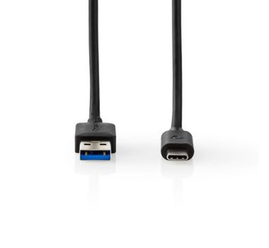 USB-Kabel | USB-A Male | USB Type-C™ Male | Vernikkeld | 1.00 m | Rond | PVC | Zwart | Window Box