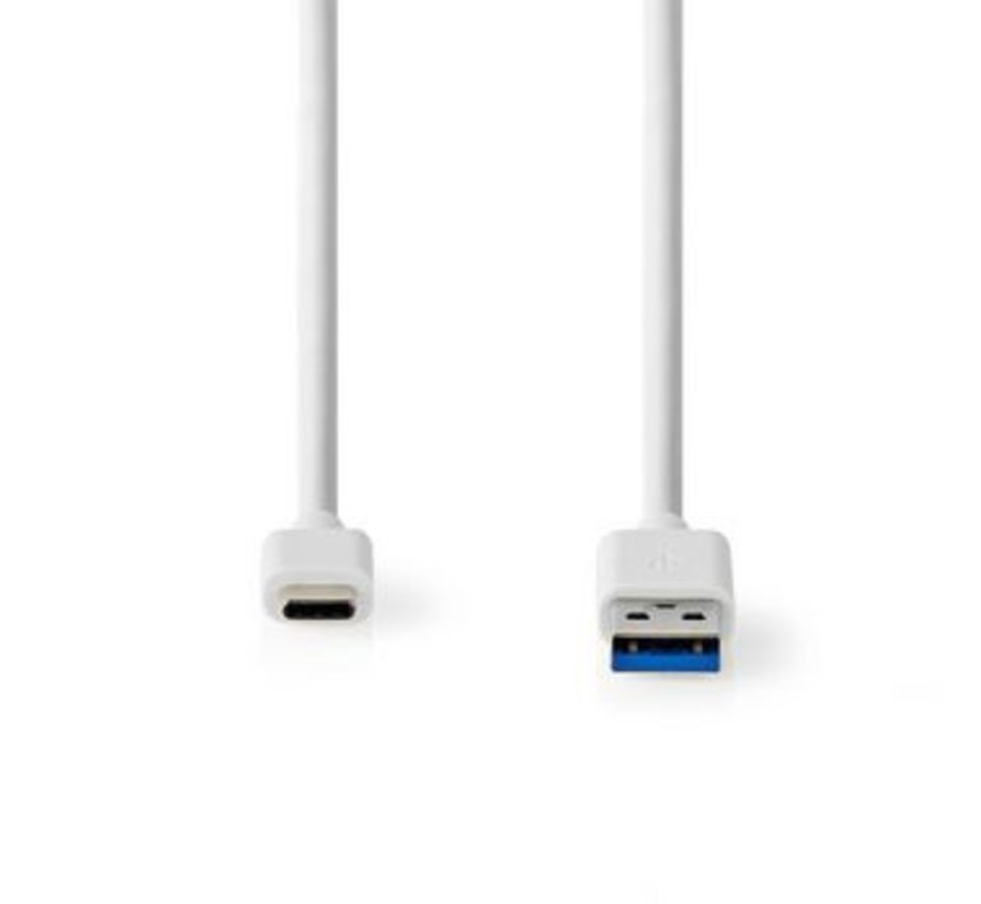 USB-Kabel | USB-A Male | USB Type-C™ Male | Vernikkeld | 2.00 m | Rond | PVC | Wit | Window Box