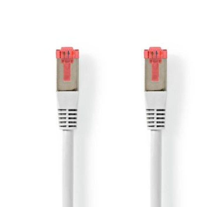 CAT6-kabel | RJ45 (8P8C) Male | RJ45 (8P8C) Male | S/FTP | 10.0 m | Rond | PVC | Wit | Label
