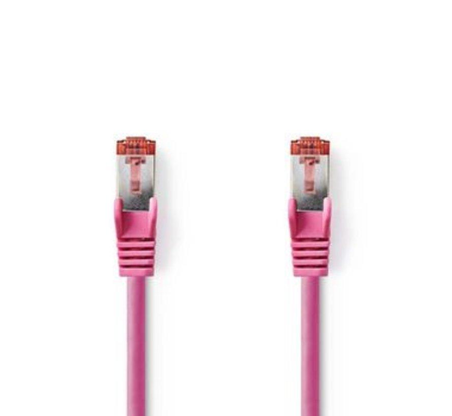 CAT6-kabel | RJ45 (8P8C) Male | RJ45 (8P8C) Male | SF/UTP | 5.00 m | Rond | PVC LSZH | Roze | Polybag
