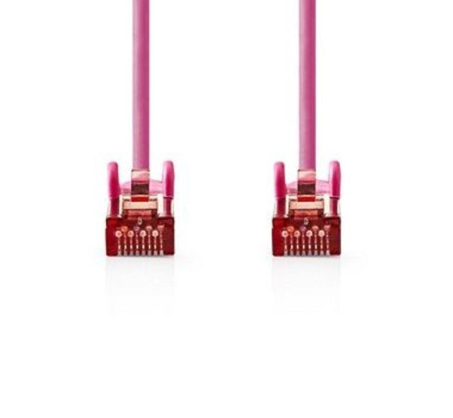 CAT6-kabel | RJ45 (8P8C) Male | RJ45 (8P8C) Male | SF/UTP | 0.50 m | Rond | PVC LSZH | Roze | Polybag