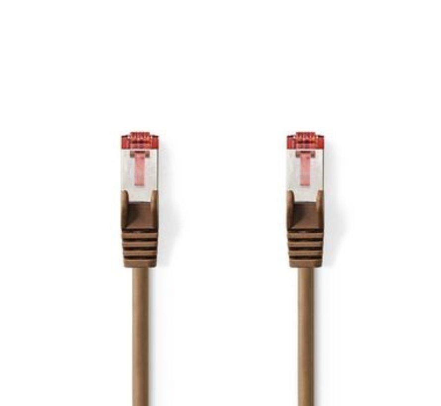 CAT6 S/FTP-Netwerkkabel | RJ45 Male - RJ45 Male | 7,5 m | Bruin