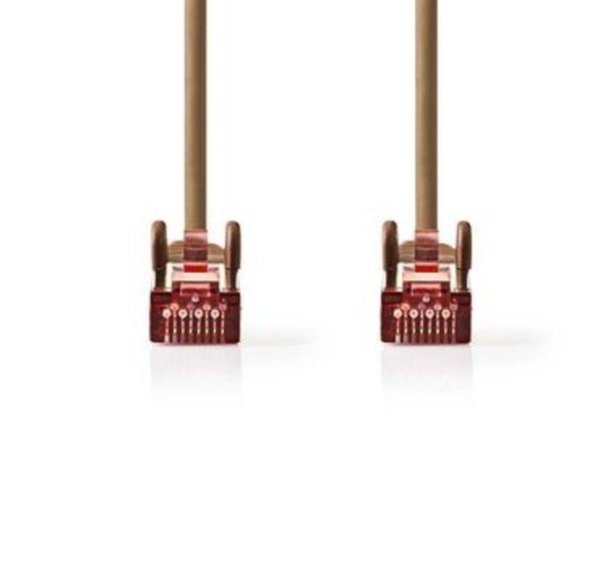 CAT6 S/FTP-Netwerkkabel | RJ45 Male - RJ45 Male | 0,5 m | Bruin