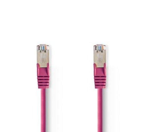 Nedis CAT5e-Kabel | SF/UTP | RJ45 (8P8C) Male | RJ45 (8P8C) Male | 0.50 m | Rond | PVC | Roze | Polybag