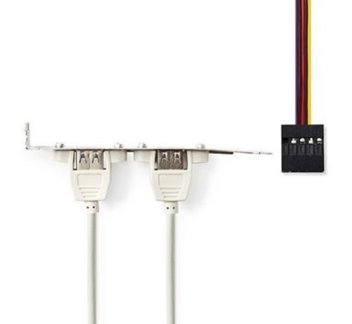 Nedis PC-Bracket USB 2.0   2x A Female - 8-Pins Female   0,5 m   Grijs