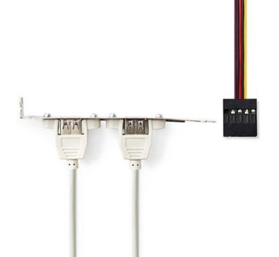 PC-Bracket USB 2.0   2x A Female - 8-Pins Female   0,5 m   Grijs