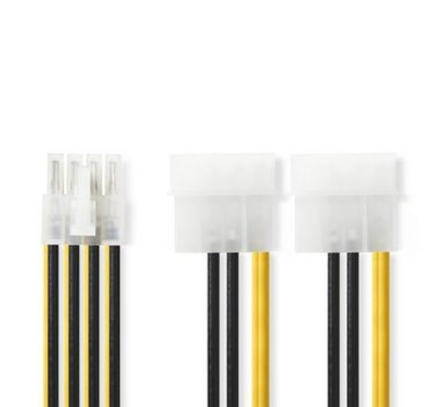 Interne Voedingskabel   EPS 8-Pins Male - 2x Molex Male   0,15 m   Diverse