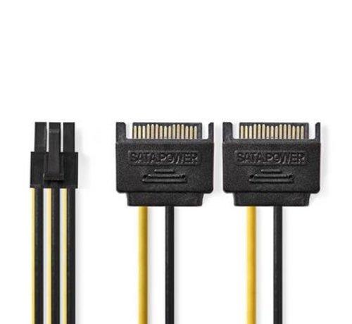 Nedis Interne Voedingskabel | 2x SATA 15-Pins Male - PCI Express Female | 0,15 m | Diverse