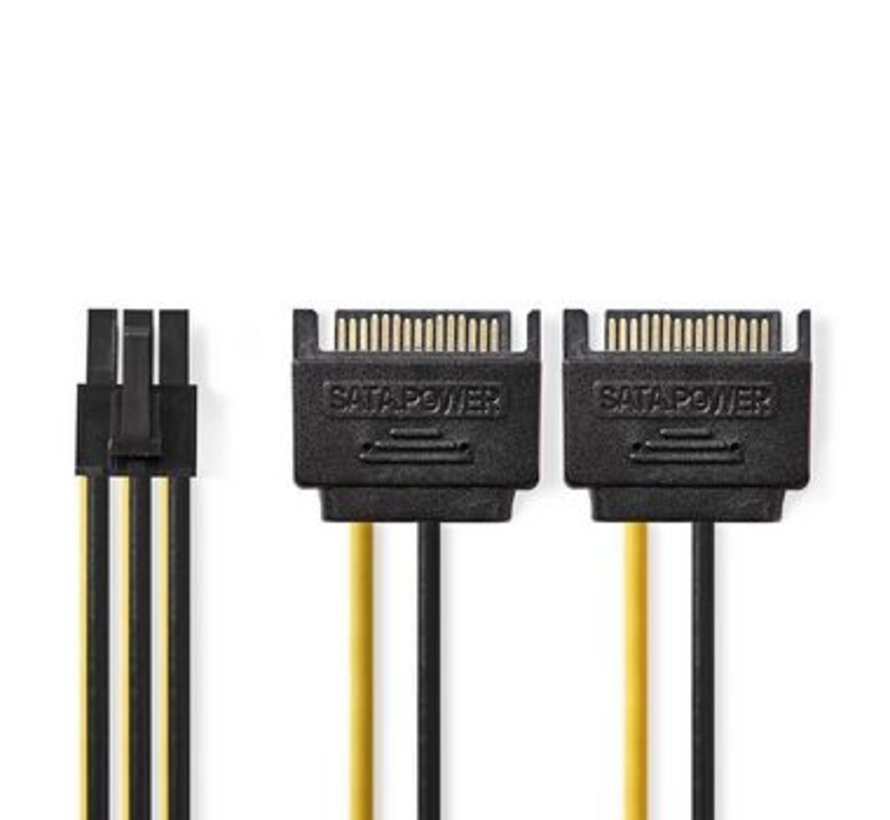 Interne Voedingskabel | 2x SATA 15-Pins Male - PCI Express Female | 0,15 m | Diverse