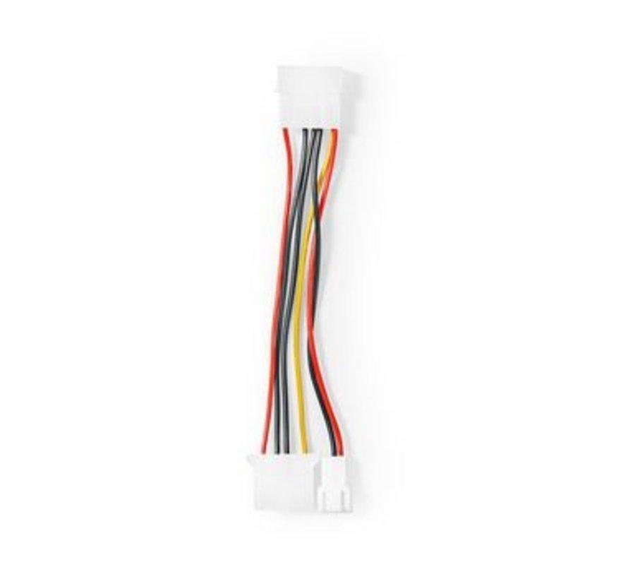 Interne Voedingskabel | Molex Male - Molex Female + 3-Pins Ventilatorvermogen | 0,15 m | Diverse