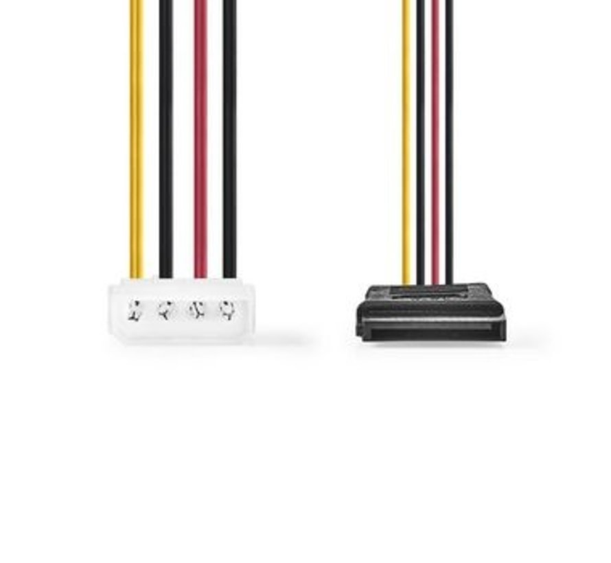 Interne Voedingskabel | Molex Male - 2x SATA 15-Pins Female | 0,15 m | Diverse