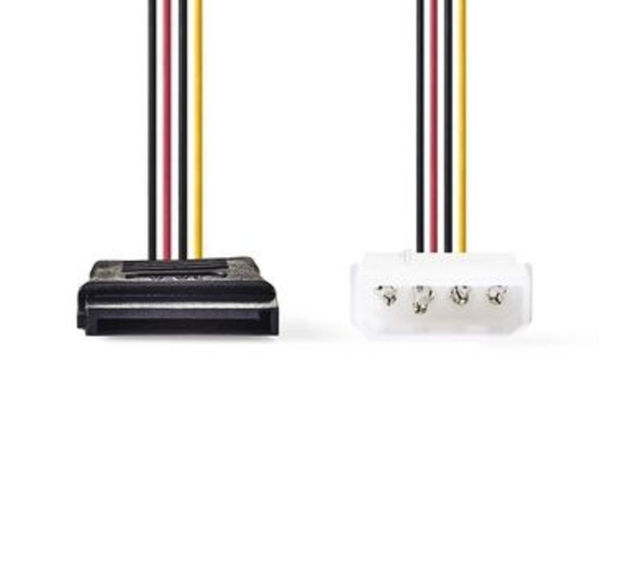 Interne Voedingskabel | Molex Male - SATA 15-Pins Female | 0,15 m | Diverse