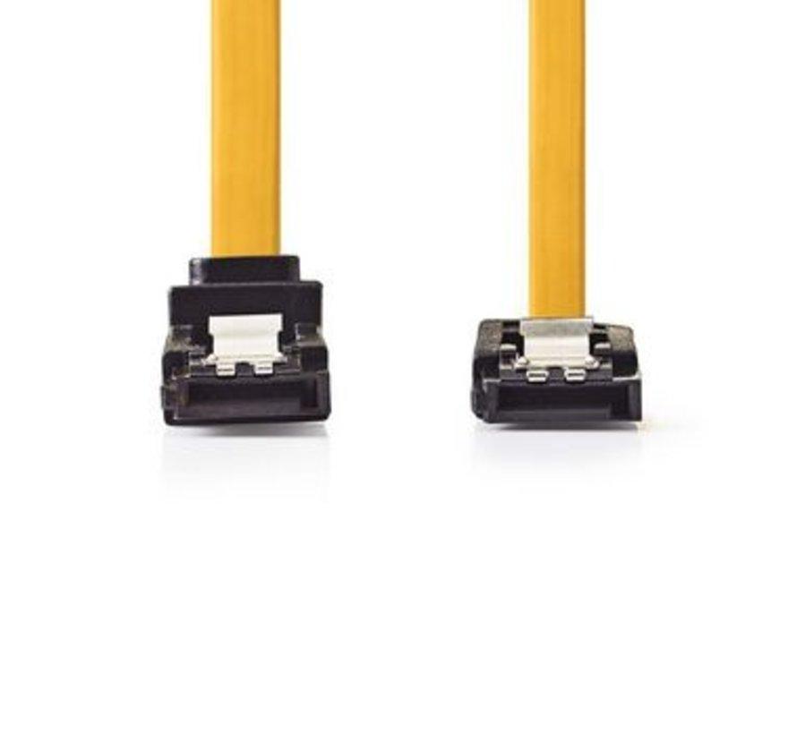 Datakabel SATA 6 Gb/s   SATA 7-Pins Female - SATA 7-Pins Female 270° Gehoekt met Vergrendeling   0,5 m   Geel