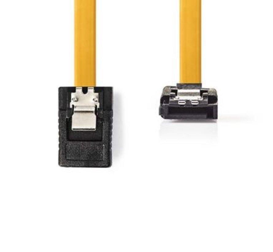 Datakabel SATA 6 Gb/s   SATA 7-Pins Female met Vergrendeling - SATA 7-Pins Female 90° Gehoekt met Vergrendeling   0,5 m   Geel