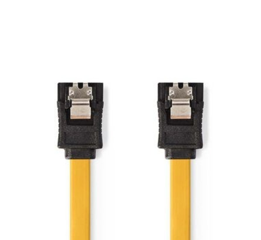 Datakabel SATA 6 Gb/s | SATA 7-Pins Female met Vergrendeling - SATA 7-Pins Female met Vergrendeling | 0,5 m | Geel