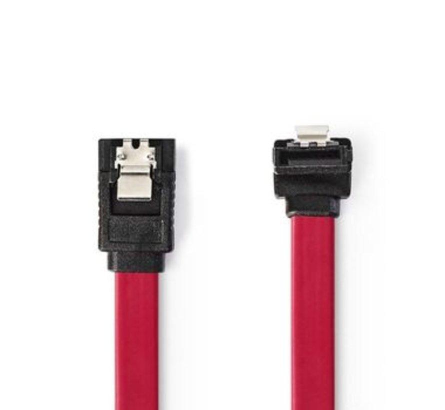 Datakabel SATA 3 Gb/s | SATA 7-Pins Female met Vergrendeling - SATA 7-Pins Female 90° Gehoekt met Vergrendeling | 0,5 m | Rood