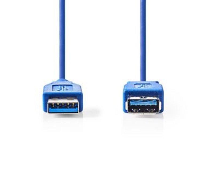 USB-Kabel | USB 3.2 Gen 1 | USB-A Male | USB-A Female | 5 Gbps | Vernikkeld | 3.00 m | Rond | PVC | Blauw | Polybag