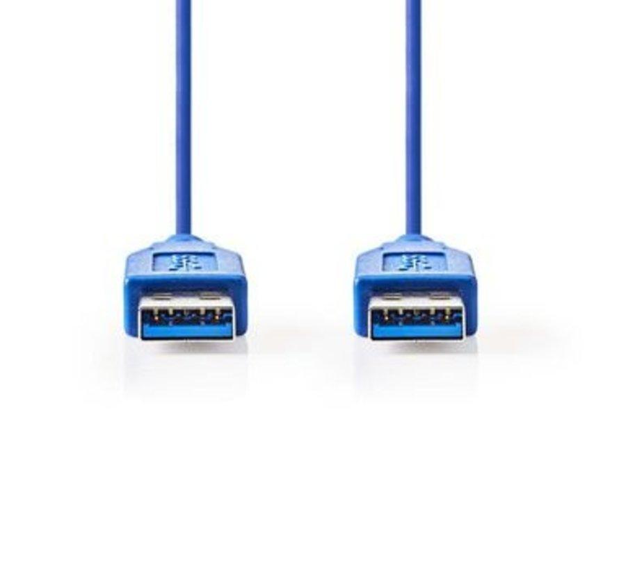 USB-Kabel | USB 3.2 Gen 1 | USB-A Male | USB-A Male | 5 Gbps | Vernikkeld | 1.00 m | Rond | PVC | Blauw | Polybag