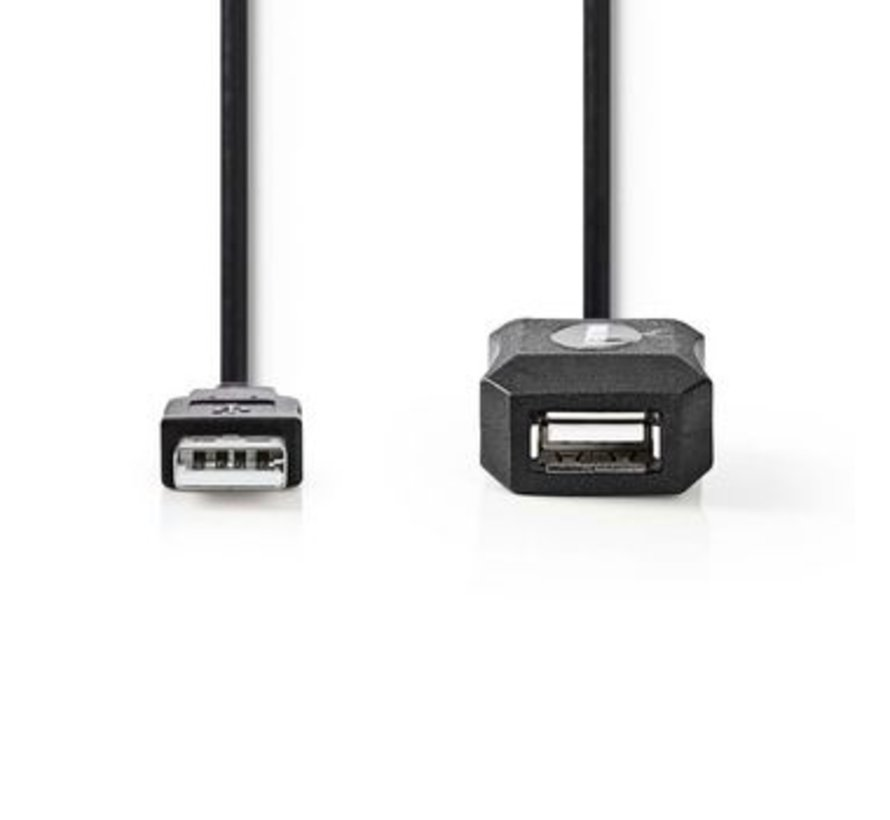 Actieve USB 2.0-Verlengkabel | A Male - A Female | 20 m | Zwart