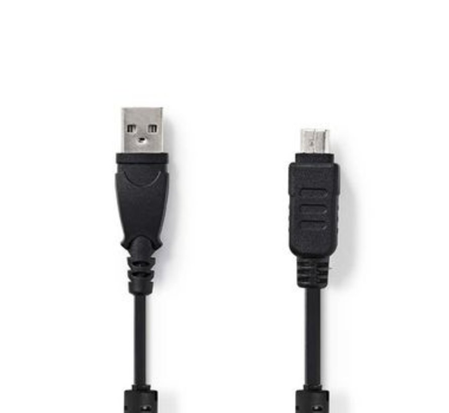 USB-Kabel | USB 2.0 | USB-A Male | Olympus 12-pins Male | 480 Mbps | Vernikkeld | 2.00 m | Rond | PVC | Zwart | Polybag