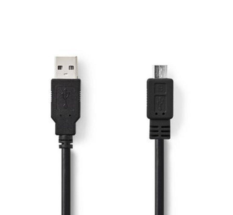 USB-Kabel | USB-A Male | USB Micro-B Male | Vernikkeld | 2.00 m | Rond | PVC | Zwart | Polybag