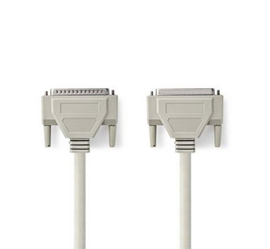Seriële Kabel | D-Sub 25-Pins Male - D-Sub 25-Pins Female | 10 m | Ivoor