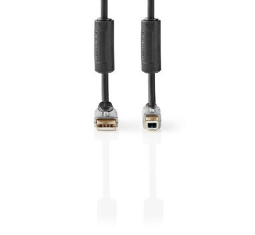 USB-Kabel | USB 2.0 | USB-A Male | USB-B Male | 480 Mbps | Verguld | 5.00 m | Rond | PVC | Antraciet | Clamshell