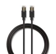 Nedis CAT6-kabel | RJ45 (8P8C) Male | RJ45 (8P8C) Male | F/UTP | 3.00 m | Rond | PVC LSZH | Antraciet | Polybag