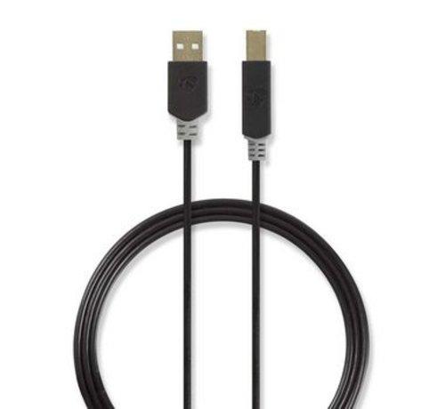Nedis USB-Kabel | USB 2.0 | USB-A Male | USB-B Male | 480 Mbps | Verguld | 3.00 m | Rond | PVC | Antraciet | Polybag