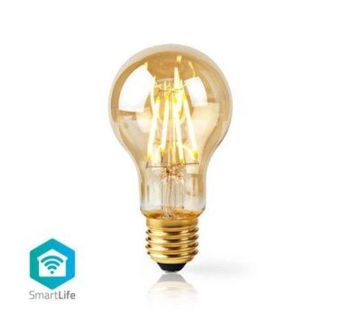 Nedis SmartLife Dimbare Filamentlamp   E27   500 lm   5 W   Dimbaar Wit / Warm Wit   2200 K   Glas   Energieklasse: A+   Android™ & iOS   Wi-Fi   Diameter: 60 mm   A60