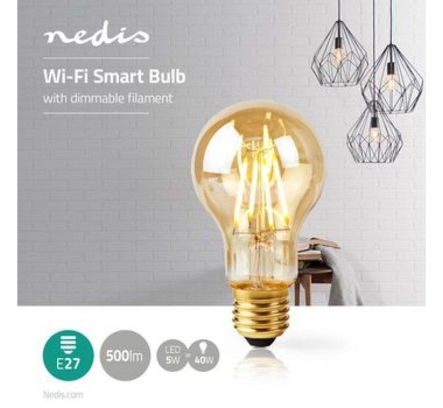 SmartLife Dimbare Filamentlamp   E27   500 lm   5 W   Dimbaar Wit / Warm Wit   2200 K   Glas   Energieklasse: A+   Android™ & iOS   Wi-Fi   Diameter: 60 mm   A60