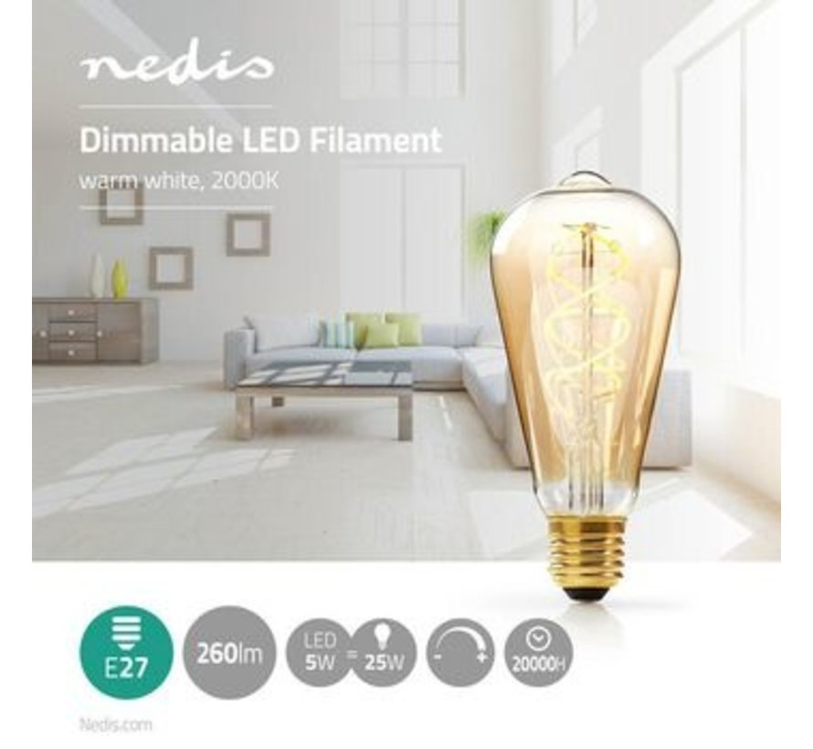 Dimbare vintage LED-gloeilamp E27   ST64   5 W   260 lm