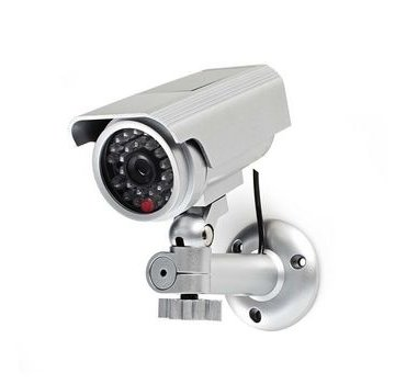 Nedis Dummy Beveiligingscamera   Bullet   IP44   Batterij Gevoed   Voor buiten   Inclusief muurbeugel   Zilver
