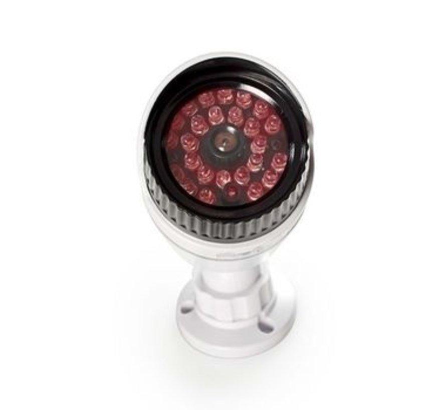 Dummy Beveiligingscamera | Bullet | IP44 | Batterij Gevoed | Voor buiten | Inclusief muurbeugel | Wit
