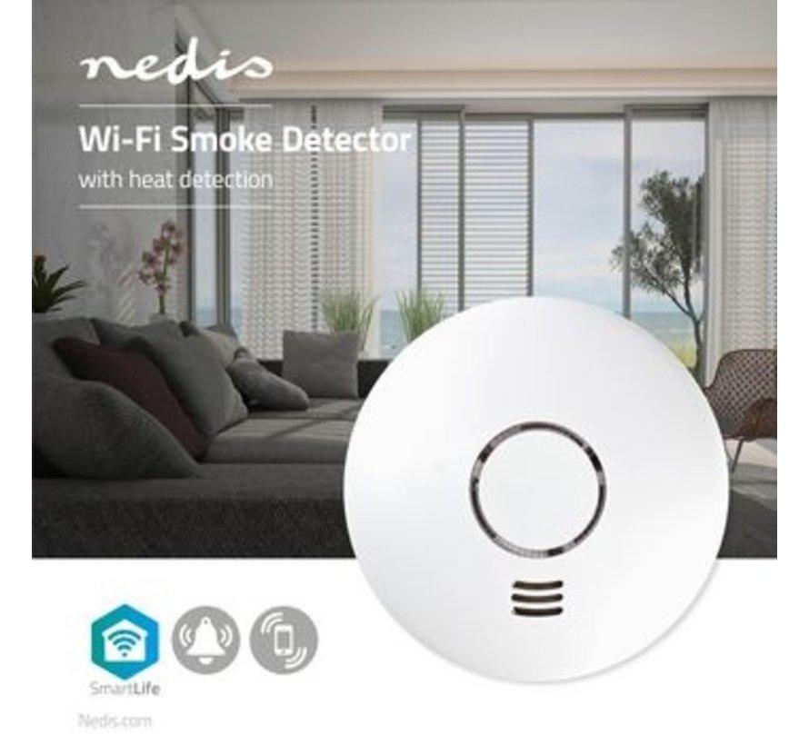 SmartLife Rookmelder | Wi-Fi | Batterij Gevoed | Levenscyclus sensor: 10 Jaar | EN14604 | Met pauzeknop | Maximale levensduur batterij: 2 Jaar | Android™ & iOS | 85 dB | Wit