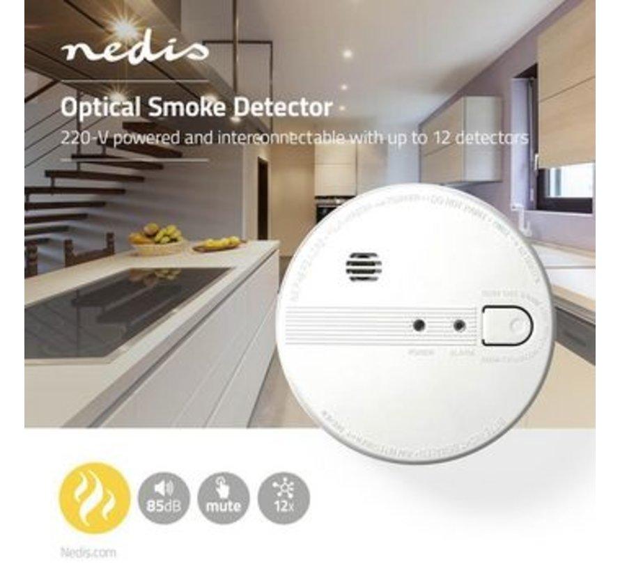Rookmelder | Netvoeding | Levenscyclus sensor: 10 Jaar | Meetbereik: 0-3 m | EN14604 | Met pauzeknop | Met testknop | 85 dB | ABS | Wit