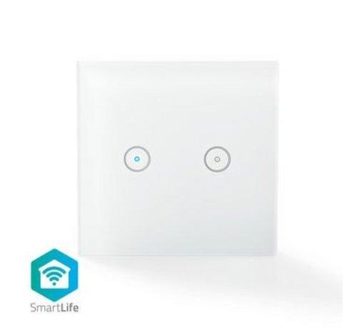 Nedis SmartLife Wandschakelaar | Duaal | Wi-Fi | Muurmontage | 86 mm | 86 mm | 1000 W | Android™ & iOS | Glas | Wit