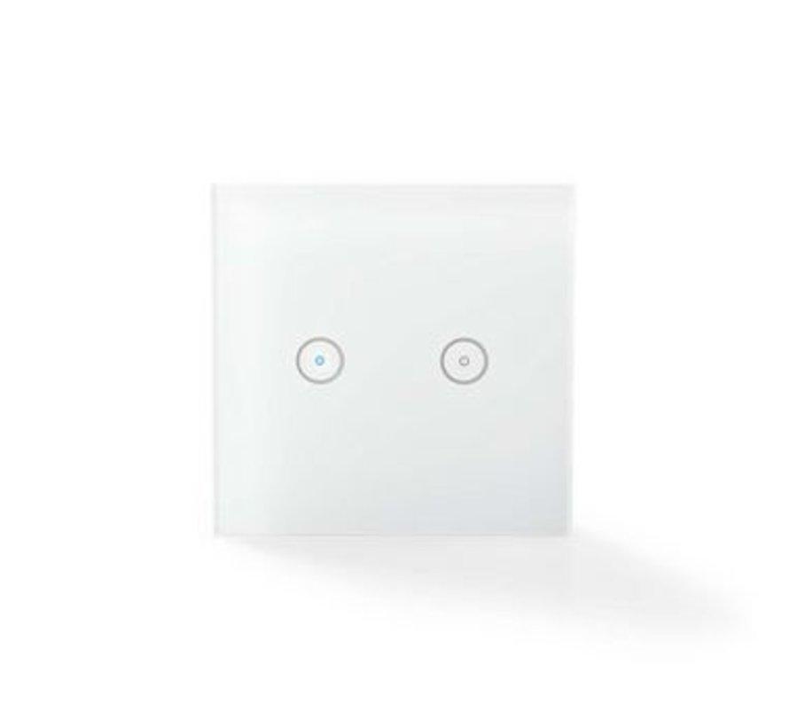 SmartLife Wandschakelaar | Duaal | Wi-Fi | Muurmontage | 86 mm | 86 mm | 1000 W | Android™ & iOS | Glas | Wit
