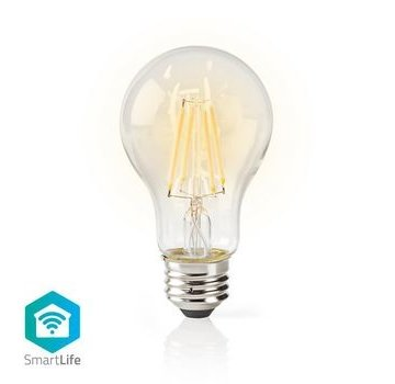 Nedis SmartLife Dimbare Filamentlamp | E27 | 500 lm | 5 W | Dimbaar Wit / Warm Wit | 2700 K | Glas | Energieklasse: A+ | Android™ & iOS | Wi-Fi | Diameter: 60 mm | A60