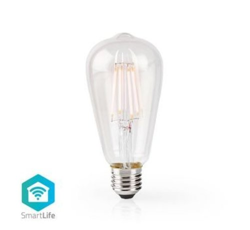 Nedis SmartLife Dimbare Filamentlamp   E27   500 lm   5 W   Dimbaar Wit / Warm Wit   2700 K   Glas   Energieklasse: A+   Android™ & iOS   Wi-Fi   Diameter: 64 mm   ST64
