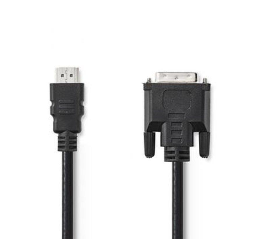 HDMI™ - DVI-Kabel   HDMI™-Connector   DVI 24+1-Pins Male   2,0 m   Zwart