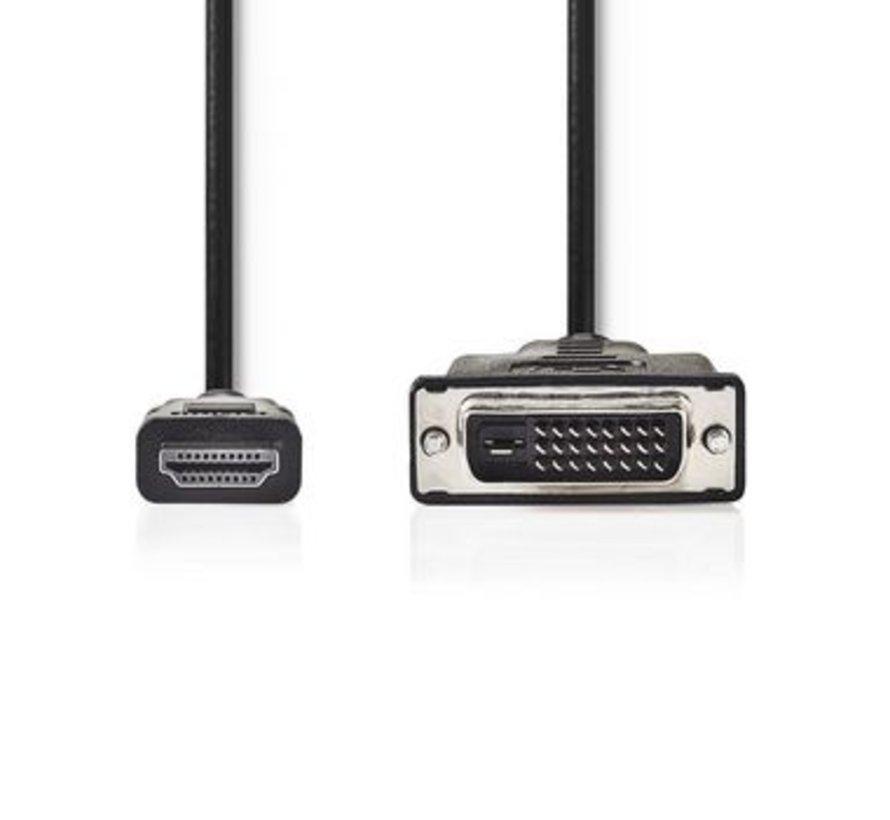 HDMI™- DVI-Kabel | HDMI™-Connector - DVI-D 24+1-Pins Male | 2,0 m | Zwart
