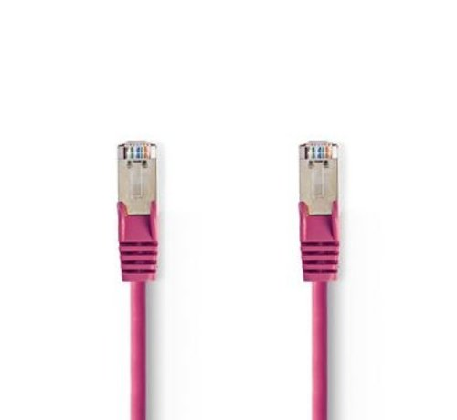 Nedis CAT5e-Kabel | SF/UTP | RJ45 (8P8C) Male | RJ45 (8P8C) Male | 1.50 m | Rond | PVC | Roze | Polybag