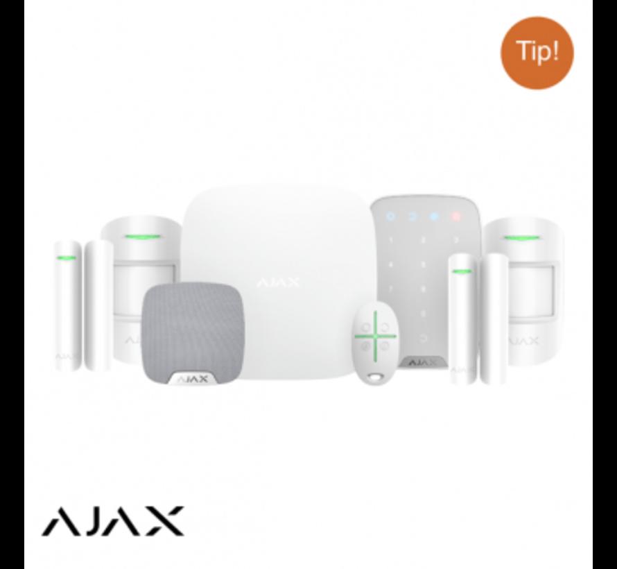 Ajax Hubkit LUXE WIT: GSM/LAN hub | 2 * pir | 2 * mc | afb | keypad | binnensirene