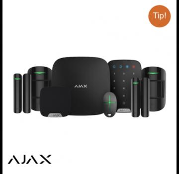 Ajax Ajax Hubkit LUXE ZWART: GSM/LAN hub | 2 * pir | 2 * mc | afb | keypad | binnensirene