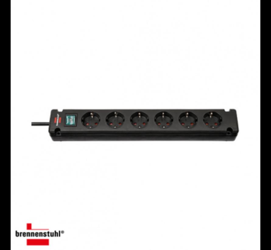 Brennenstuhl Bremounta | stekkerdoos | 6 sockets | 3m | zwart