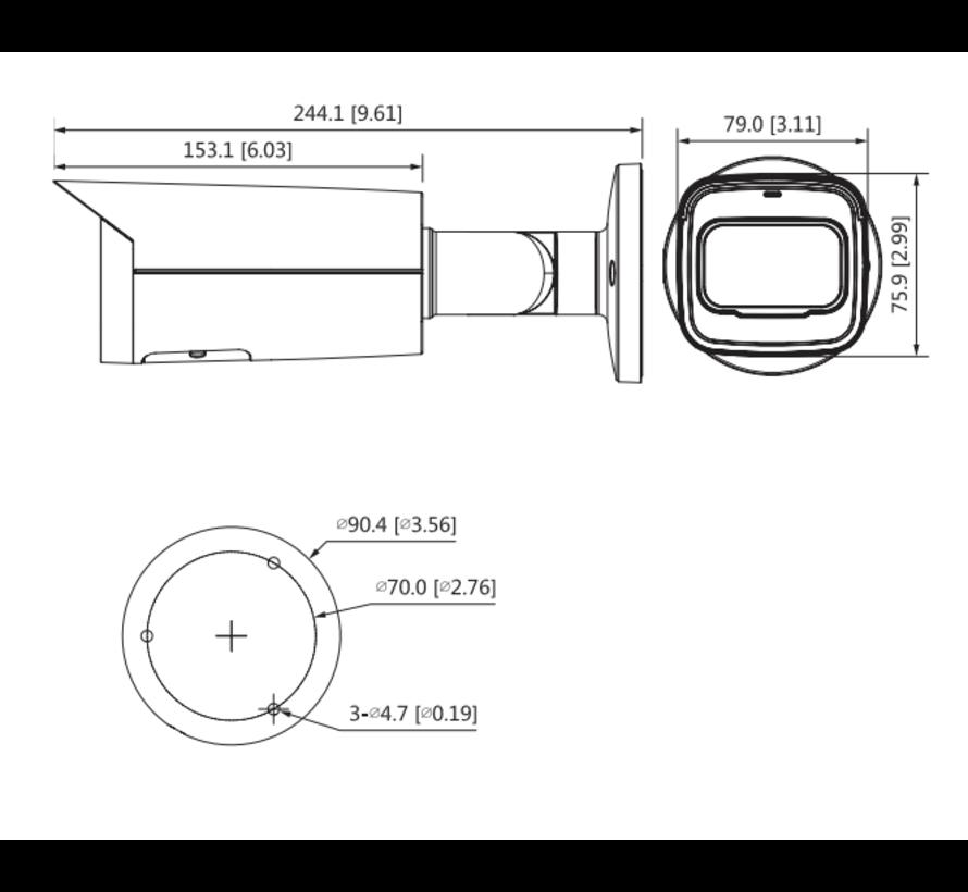Dahua 4MP | Lite | AI IR Vari-focal Bullet | Netwerk camera | 2.7-13.5mm | Zwart